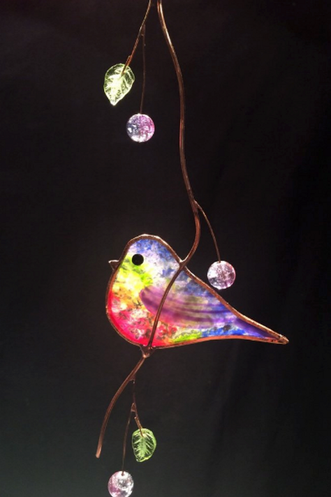 Signature Crystal Effect Bird Stained Glass Suncatcher