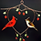 Thumbnail: Stained Glass Heart Panel: Cardinal Pair