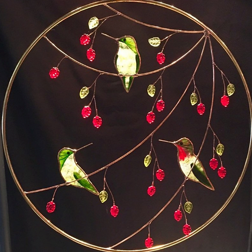 Large Stained Glass Panel: 3 Hummingbirds