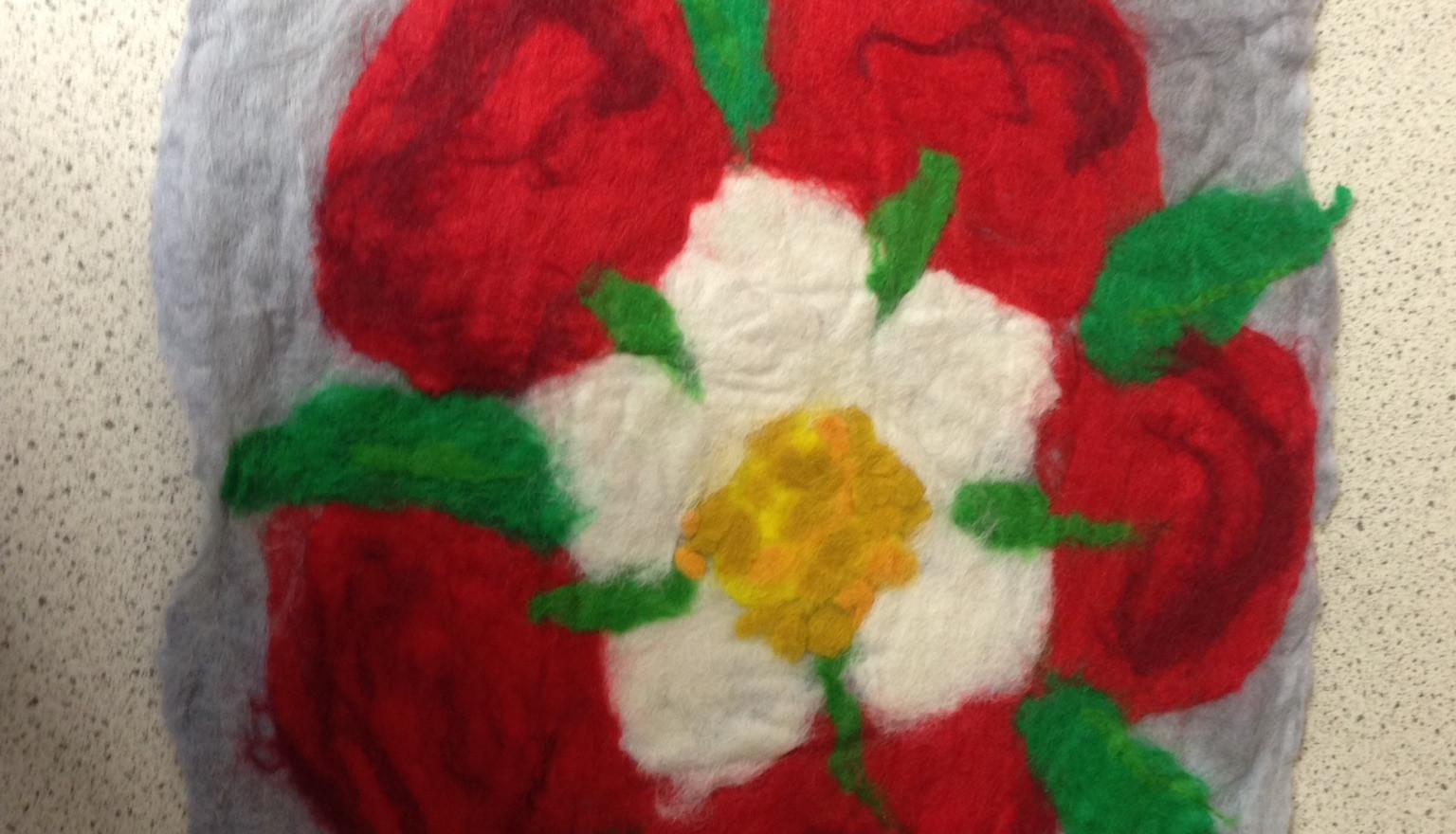 Tudor rose felting