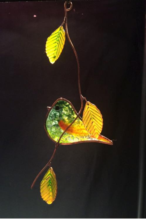 Signature Pasture Bird Stained Glass Suncatcher