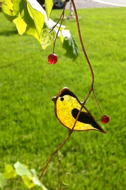 American Goldfinch with Berries Stained Glass Suncatcher