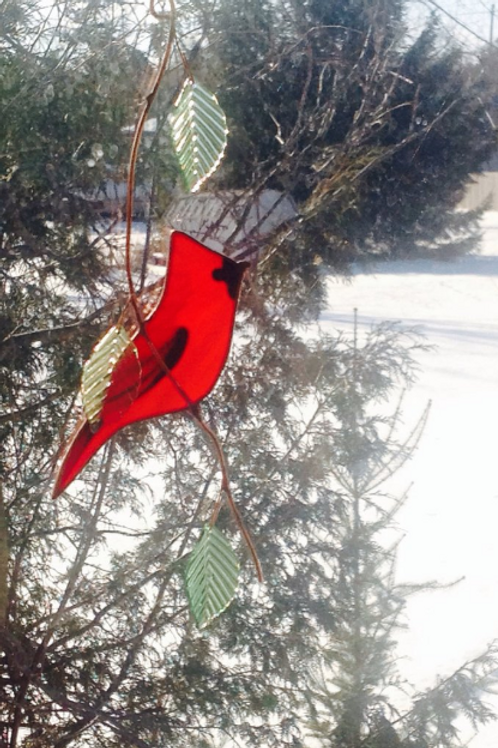 Cardinal with Large Leaves Stained Glass Suncatcher