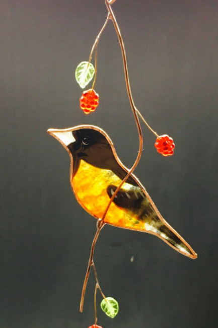 Baltimore Oriole Stained Glass Suncatcher