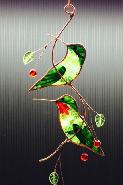 Pair of Stained Glass Hummingbirds