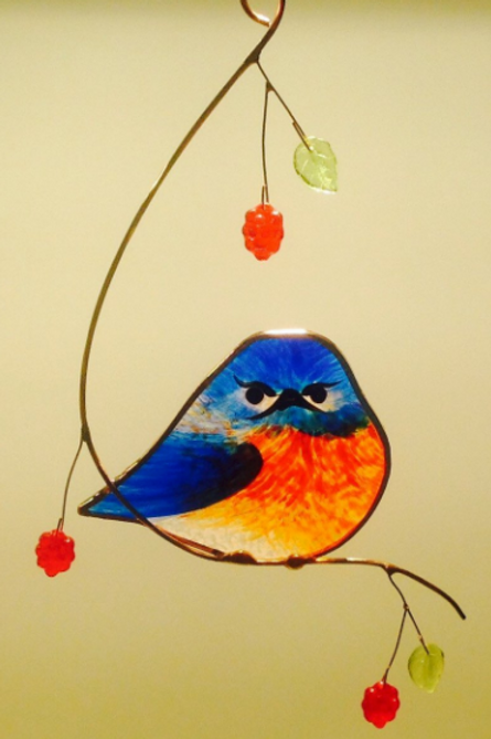 Grumpy Bluebird with Berries Stained Glass Suncatcher