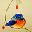 Thumbnail: Grumpy Bluebird with Berries Stained Glass Suncatcher