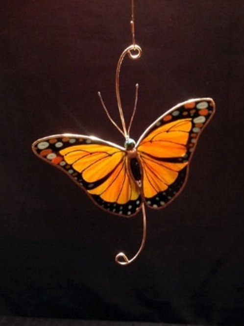 Monarch Butterfly Stained Glass Suncatcher