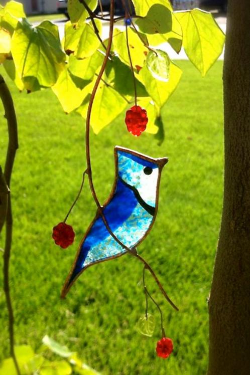 Blue Jay Stained Glass Suncatcher
