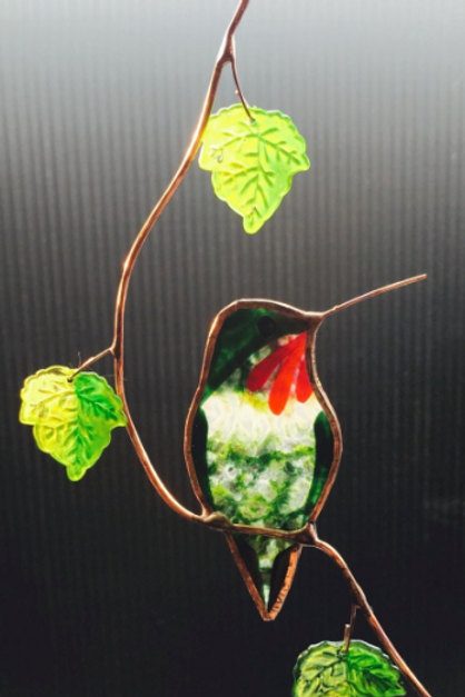 Hummingbird with Maple Leaves Stained Glass Suncatcher