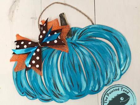 Pretty Blue Pumpkin Hanger