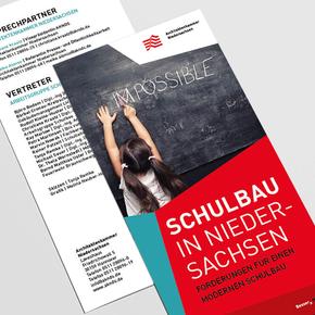 """Flyer & Broschüre """"Schulbau in Niedersachsen"""""""