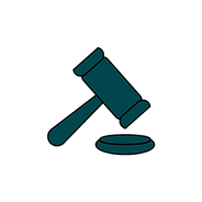 A judge's gavel symbolizes legal help. This goes to the Crime Victims Law Project page.