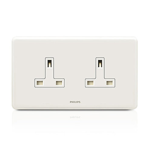 Philips ORIGAMISTYLE - ORI13ATWBSSK - 13A Twin Gang Socket (White)