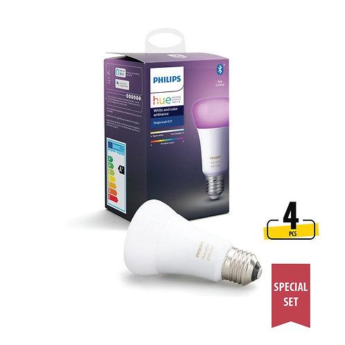 Philips Hue White and Colour Ambiance 9W A60 E27 LED Bulb (Bluetooth) set
