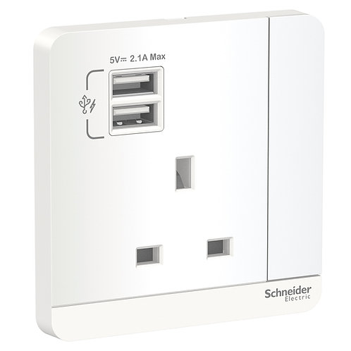 Schneider AvatarOn - E8315USB_WE_C5 - 2 USB charger + switched socket 3P 13A