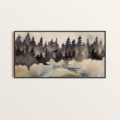 Watercolor Dark Pine; Sky Abstract Watercolor Print, Unique original Conte