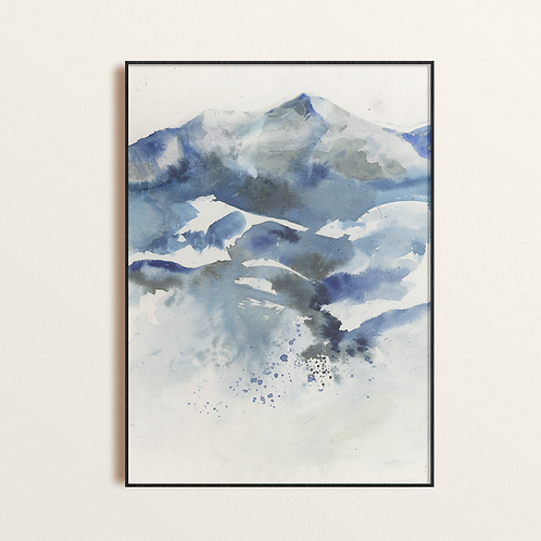 Mountain Tree & Sky Abstract Watercolor Print, Unique original Contemporary Blue