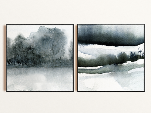 Grey Watercolor Trees Mixed Media Art Print, Giclee Abstract Nature Fine Art