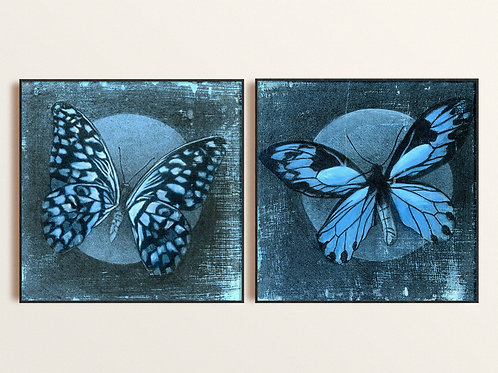 Blue Butterfly Mixed Media Art Print, Giclee Abstract Nature Fine