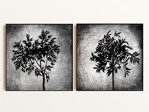 Abstract Ficus Plant Giclee Set of Prints from Acrylic Painting, Unique Original