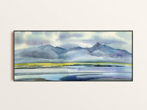 Lake and mountain Nature Landscape Fine Art Print, Soft calming Contemporary