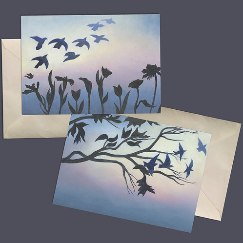 Birds of a Feather Friendship All-occasion blank note cards set of 4