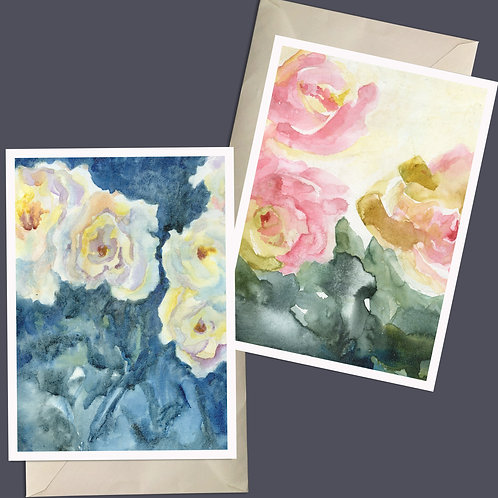 Liquid abstract Roses; contemporary, modern Mixed Media Giclee Nature Fine Art
