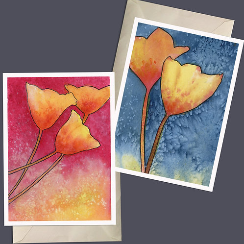 Bright Cheerful Easter Tulips, Happy Watercolor Greeting Card & Giclee Print Set