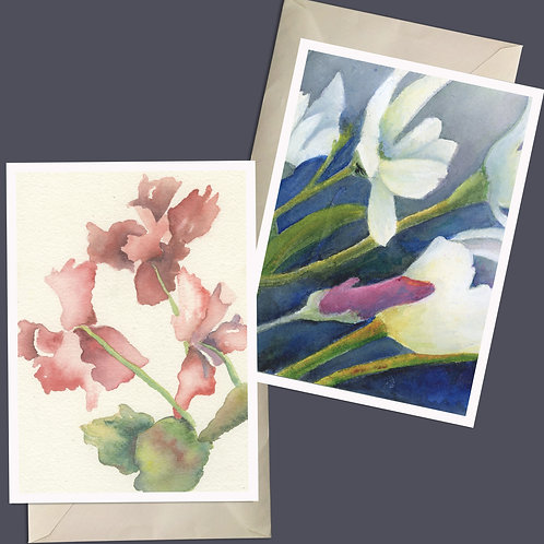 Spring Pink Song, Blue Melody delicate colored note cards and small Giclee Natur