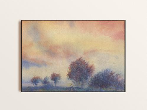Purple Tree Abstract Watercolor Print, Unique original Giclee Contemporary