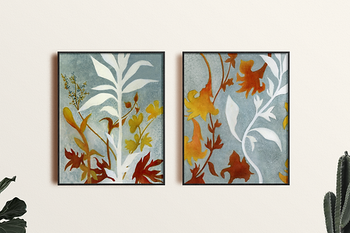 Giclee Abstract Nature Fine Art Print, set of 2; Modern Contemporary Original
