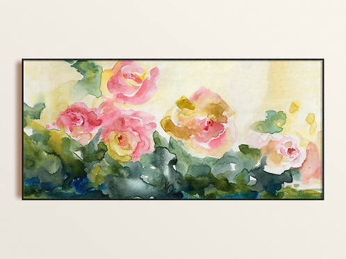 Watercolor Abstract Pink Roses Fine Art Print, Soft calming Contemporary