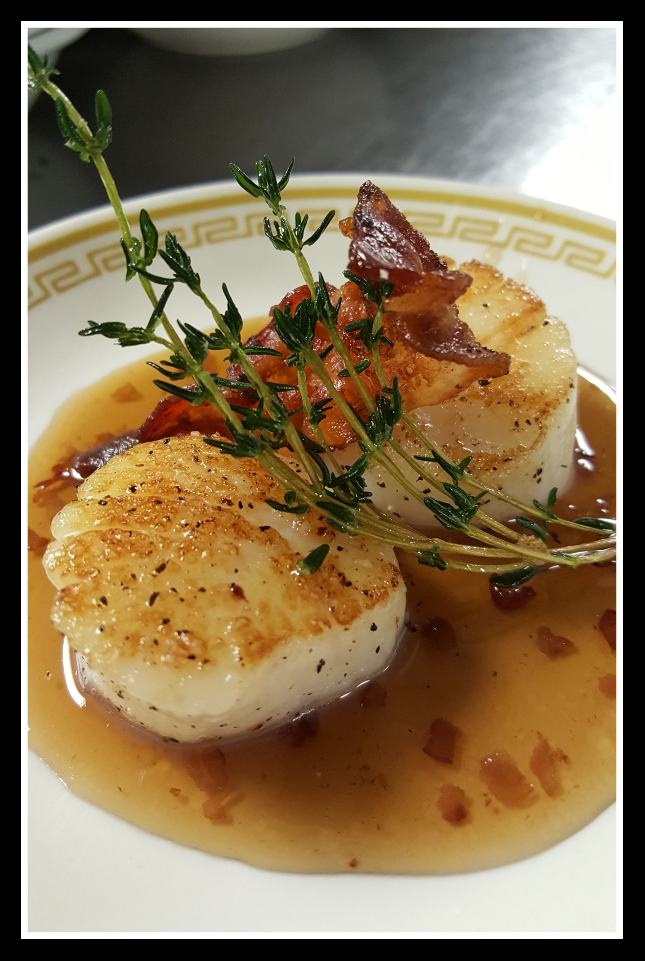 Scallops with Bacon-Bourbon Syrup