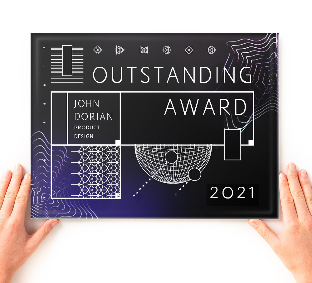 glass printed award