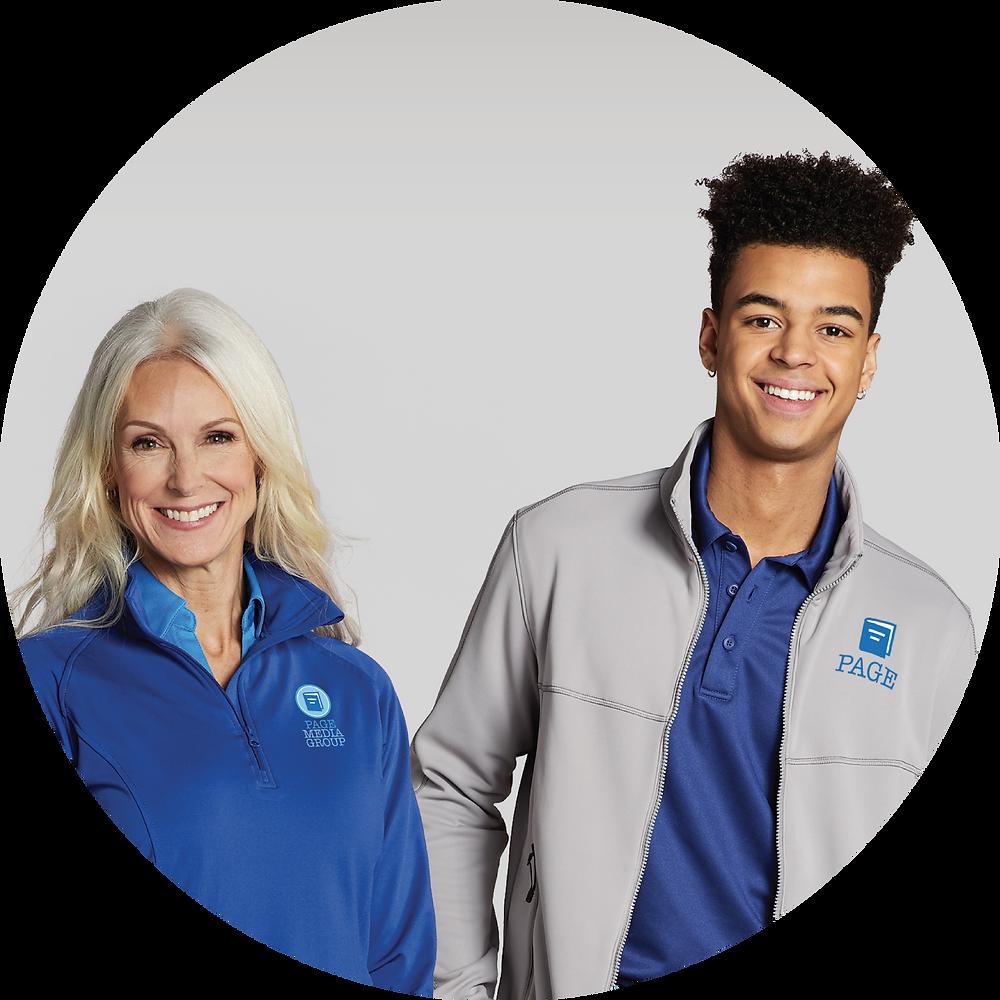 man and woman in custom corporate apparel
