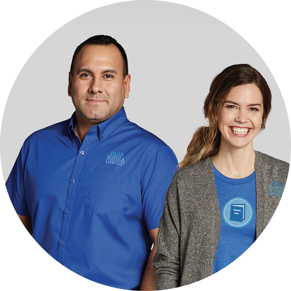 man and woman in corporate custom apparel