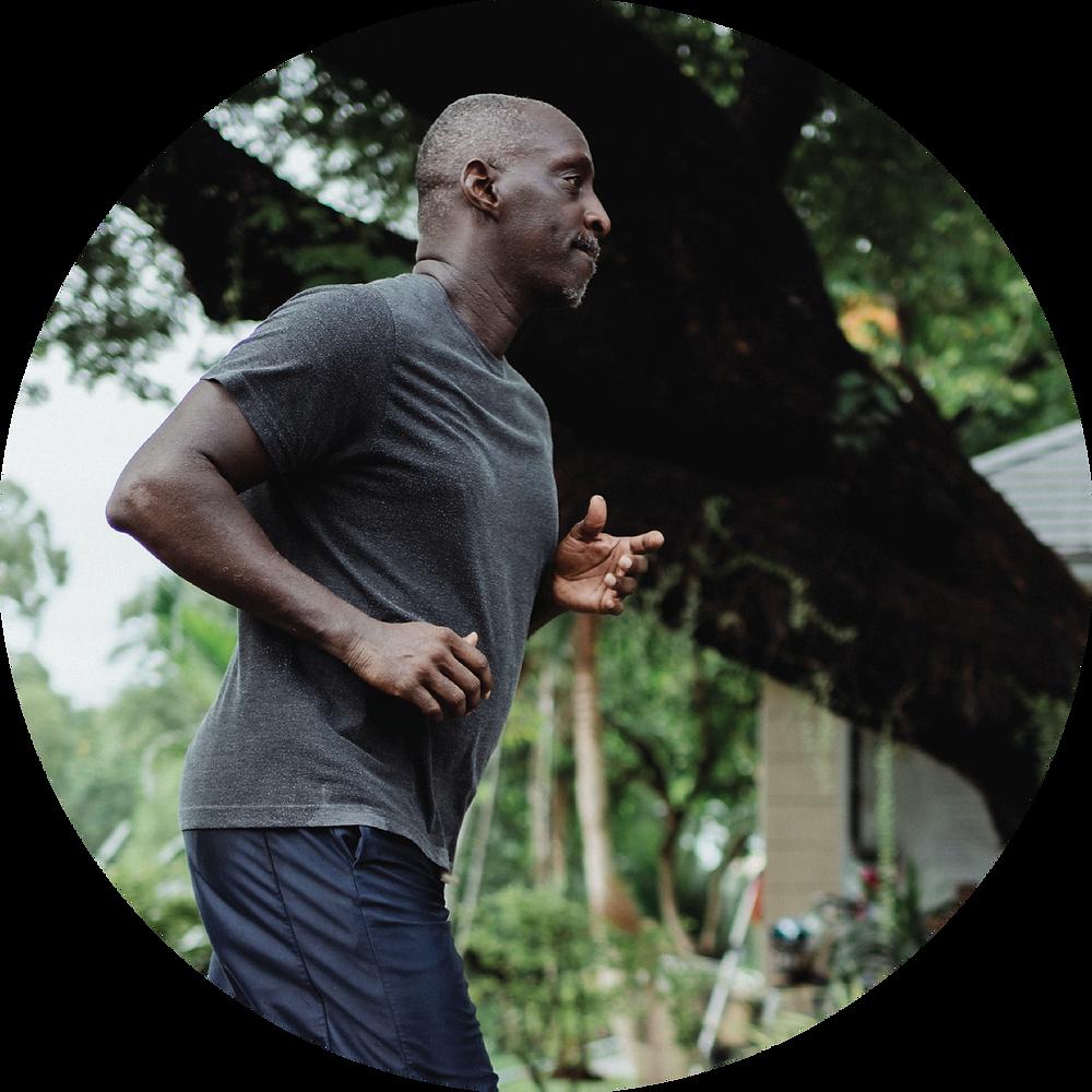 man running in t-shirt