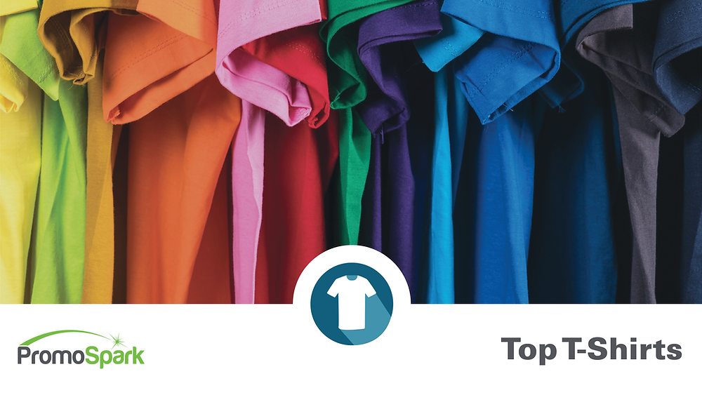 An array of multicolored t-shirts above PromoSpark logo
