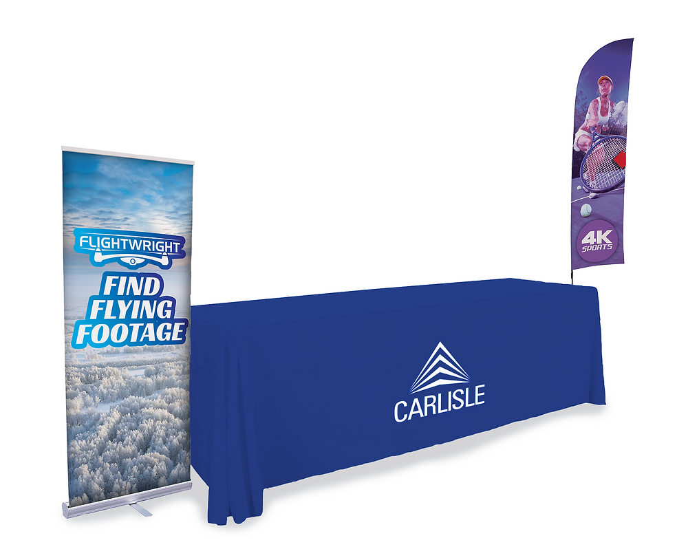 Signage and table covering for corporate booth