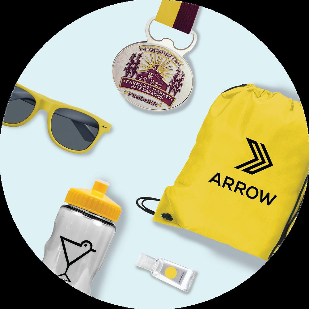 race kit supplies: sunglasses, medal, drawstring bag, water bottle, hand sanitizer