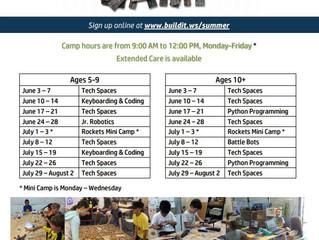 Build It Workspace Summer Camp - Los Alamitos, CA (website missing K-12 info, outdated flyer)