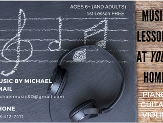 In-home Music Lessons - La Jolla/ Universal City/Claremont, CA (no website, contact to verify info)