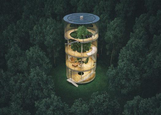 La casa tubular de lujo en un bosque de Kazajistán