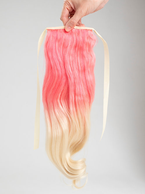 Vanilla Mermaid - Pink/Blond Curly Ombré Ponytail Hair Extension Clip In
