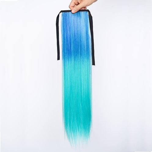 Blue Mermaid Magical - Blue/Aqua Straight Ombré Ponytail Hair Extension Clip