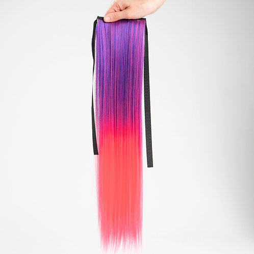 Pink Fantasy - Purple/Pink Straight Ombré Ponytail Hair Extension Clip In