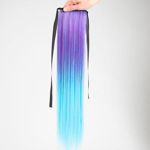 Frozen Magical - Purple/Aqua Straight Ombré Ponytail Hair Extension Clip In