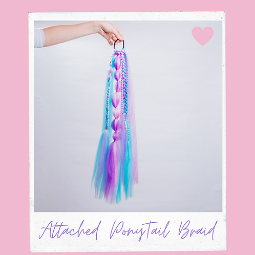 Cotton Candy Attached Ponytail Braid Handmade