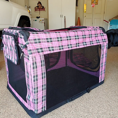 "24"" Portable Fashion Pink Plaid Dog Crate"